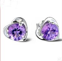 new arrival women fashion jewelry purple cubic zirconia love heart 925 sterling silver earrings SKY-18