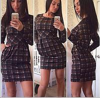 The new autumn and winter 2014 women's fashion round neck long-sleeved dress women chiffon dress casual plaid print mini-dress