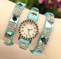 Hot Sale High Quality Crystal Rhinestone Multilayer PU Leather Quartz Dress Watches Women Ladies Casual Wristwatch relogio