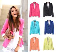 2014 New Fashion Casual One Button Slim Blaser Feminino Candy Color Suit Jackets Blazer Women