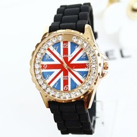 New Women Fashion Luxury Style Brand name UK Flag Silicone Watch Jelly Watch Free Shipping