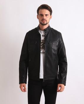Новинка Молодой И Модный Мужчины Большой Размер Черный Водонепроницаемый PU Кожазам Кожаная Куртка Пальто Подол С Трикотажем Бесплатная Доставка