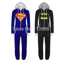 Unisex Batman Superman Onesie Adult Cosplay Costume Casual Hoodie Zip Jumpsuit Playsuit for Men Women