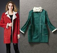 Top Quality!New Fashion Winter Coat 2014 Women Turn-Down Collar Long-Sleeve Faux Fur Coat Casual Pocket Warm Outerwear Zip Coat