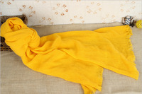 Womens cotton voile scarf fashionable yellow winter scarf women solid scarves with tassels