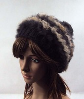 2014 New Woman Faux Rabbit Fur And Kinted Winter Autumn Warm Caps  Beanie Skullies For Woman Gorros de Lana H1401
