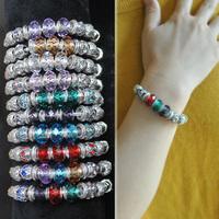 Fashion Silver Plated  Glass&Crystal European Troll Beads Bracelets DIY Jewelry Bracelets