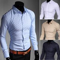 C228 New Mens Shirts Casual Slim Fit Stylish Mens Dress Shirts 4 Colors 5 US size