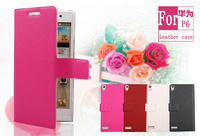 Doormoon For huawei ascend p6 Flip Leather Case Real Cowhide Leather Cover And Retailed Package By Free Shipping