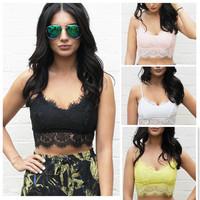2014 Fashion Sexy Women Zipper Lace Floral Unpadded Bralette Bralet Bra Bustier Crop Top Cami Tank Size S/M/L Lace Tops AY657216