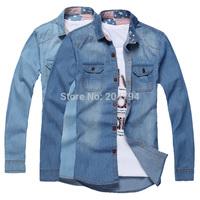 C225 New Men's Fashion Luxury Long Sleeves Slim Fit Stylish Casual Denim Shirts