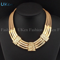 2014 Fashion Accessories 4 Leather Chain Cross Gold Pipe Alloy Bib Chokers Statement Necklaces Wholesale Free Shipping N2573