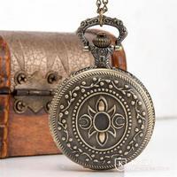 The new large sword logo retro flip antique pocket watch necklace