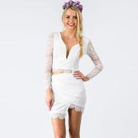 The White Lace Ruffle Hem Dress Set Gorgeous Princess Dress Two pieces Long Sleeve Cropped and Asymmetric Trim Lace Women Dress