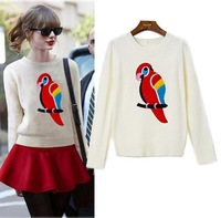 2014 new autumn fashion parrot printed long-sleeved round neck casual women's beige sweater + mini wine red skirt women's suits