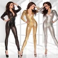 Free shipping Silver Gold Black Jumpsuit Catwoman Bodysuit Sexy Clubwear Women's Bandage Women Bodysuit