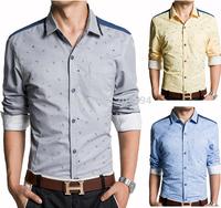 C221 New Fashion Men's Luxury Slim Fit Long Sleeve Casual Dress Shirts