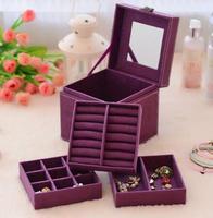 Jewelry box South Korean Princess flannel wooden double locking hand jewelry jewelry box