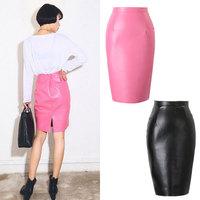 Women Leather Skirts New Fashion 2015 Spring Summer Casual High Waist Skater Skirt PU Mini Skirt Back Vent Pencil Skirt14112