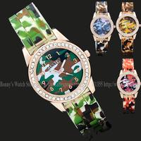 New Brand Geanel Watch Fashion Camouflage military sports quartz Watch Jelly women Rhinestone Dress watches Relogio Feminino