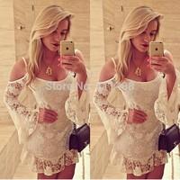 Women off shoulder white lace dress vestidos de venda
