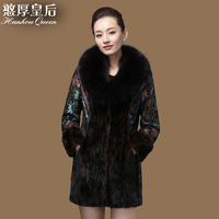 2014 new sheep skin fox fur collar with cotton leather female self-cultivation print dress