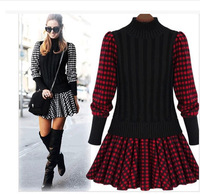 Women Wool Sweater Dress 2014 Autumn Winter European Ladies Long Sleeve Turtleneck Patchwork Plaid Slim Mini Dresses