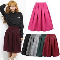 Women's Woolen Skirts New Fashion 2015 Spring Casual High Waist Skater Skirt Midi Skirts For Women Girls Skirt 14113
