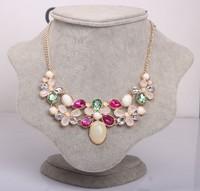 2014 Hot New Colorful Fashion Leaf Rhinestone Resin Short Women Collar Choker Necklace Statement Jewelry