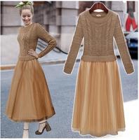 2014 Winter women European Style sweater dress Winter long Sleeve patchwork ankle length Casual dress
