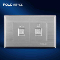 Wholesale POLO Luxury Wall PC Outlet Panel,Computer and Telephone Wall Socket,Electric Socket,Silver,118*72MM,10A,110~250V, 220V