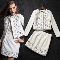 New arrival Ladies 2014 fashion handmade flowers ribbon rope sewing woollen skirt set