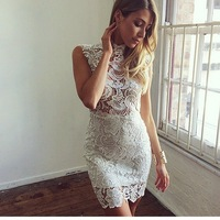 2014 new women sexy hollow out lace dress sleeveless sexy evening dress white elegant bodycon casual vestidos