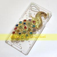 1 Pcs Handmade Bling Diamond Peacock Clear Transparent Hard Back Case Cover For Sony Xperia E3 D2202 D2203 D2206 D2243