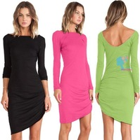 2014 Fall winter simple elegant casual dresses package hip Slim long-sleeved Tee collar dress Women Irregular vestido longo