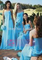 Blue Strapless A-Line Long Floor Length Bridesmaid Dresses 2015 Elegant Wedding Party Dress Vestido de Madrinha
