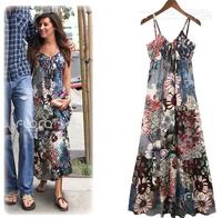 Casual Dress Hot Sale Vestidos Free Shipping 2014 Free Size Long Dress Bohemian Print Chiffon Women Dress Top Quality