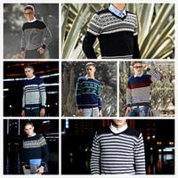 2015 New Fashion Autumn&Winter European Men Stripe Sweater Long-Sleeve Round Collar Men Sweater High Quality Male Sweater