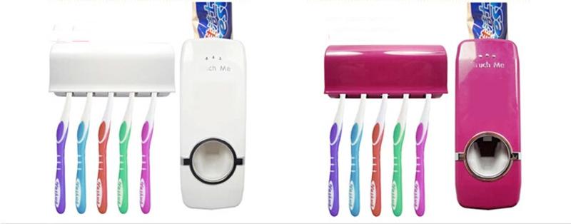 NEW Creative Bathroom Tool Auto Toothpaste Dispenser Free Brush Holder White Red(China (Mainland))