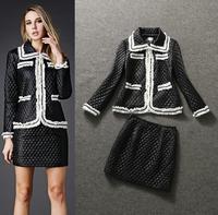 Top Quality!New Fashion Europe Women Cotton Parka Down Jacket Contrast Color Coat+Warm Winter Pencil Skirt(1Set) Slim Suits