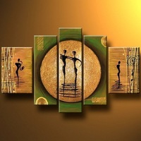5-6065 100% handmade high quality beautiful abstract painting oil 5 panels  home decoration wall art picture