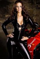Free shipping M-XXL Big Plus Size Sexy Lingerie Latex Cat Costume Catsuit PVC Black Body Suit Clubwear Vinyl Dress Jumpsuit