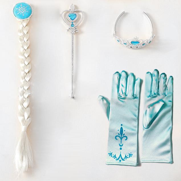 3Pcs/set Crown Princess Elsa Crown girls Hair Accessories brand Tiara Cosplay Crown + Wig +Magic Wand+Glove(China (Mainland))