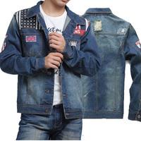 2014 autumn stylish men cowboy jacket long sleeve washed white jacket fashion winter casual jeans coat jackets S-XXL  HS223