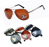 Fashion metal Hollow out lens leg men polarized sunglasess , Driving frog mirror sun glasses in zipper case