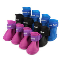 2014 Hot Sale Fashion Dog Candy Colors Boots Waterproof Rubber Pet Rain Shoes Booties Free Shopping & Wholesales