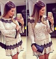 S-XL Free Shipping Factory Wholesaler European stations women's Fashion Flare Long sleeve Lace Crochet Jacquard dress 141027#8