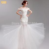 flowers sexy wedding dresses new 2015 Korean brides bind lace fish tail wedding dress winter vestido de noiva fashionable