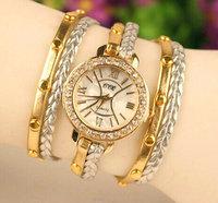 2014 New Fashion Women knit PU Leather Quartz Dress rivet Watches Women Ladies Casual Wristwatch relogio