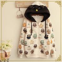 Winter women's plush owl patchwork print plus velvet with a hood sweatshirt coat